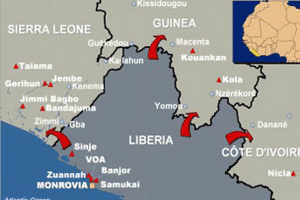 Liberia is on the west coast of Africa
