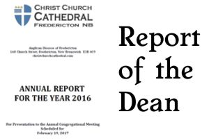 Report of the Dean to Annual 19 Feb 2017
