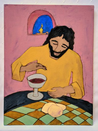Jesus offers bread and wine