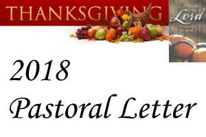 2018 Thanksgiving Pastoral Letter