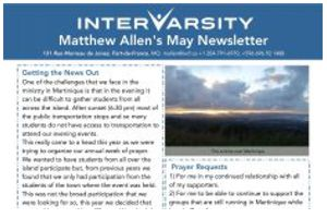 Matt Allen's May 2019 IVCF Newsletter