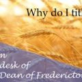 From the Dean – Why do I tithe?